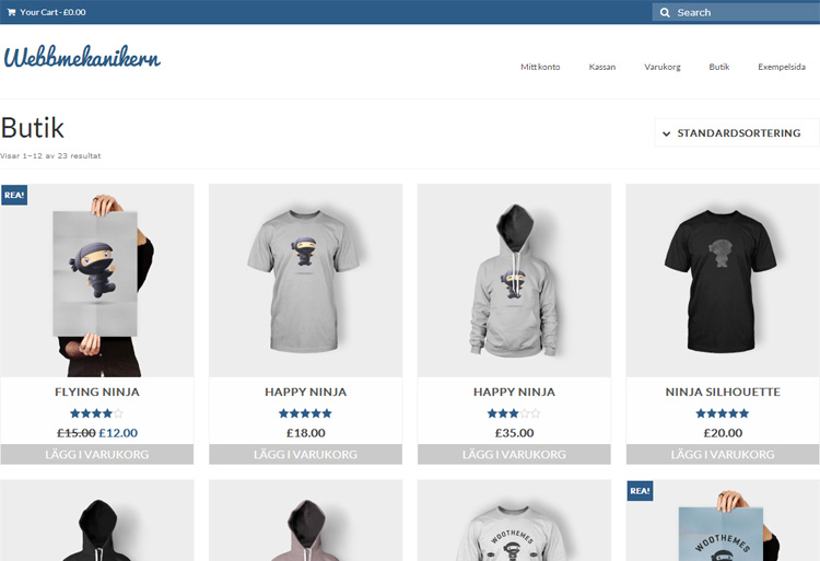 Woocommerce Webbshop